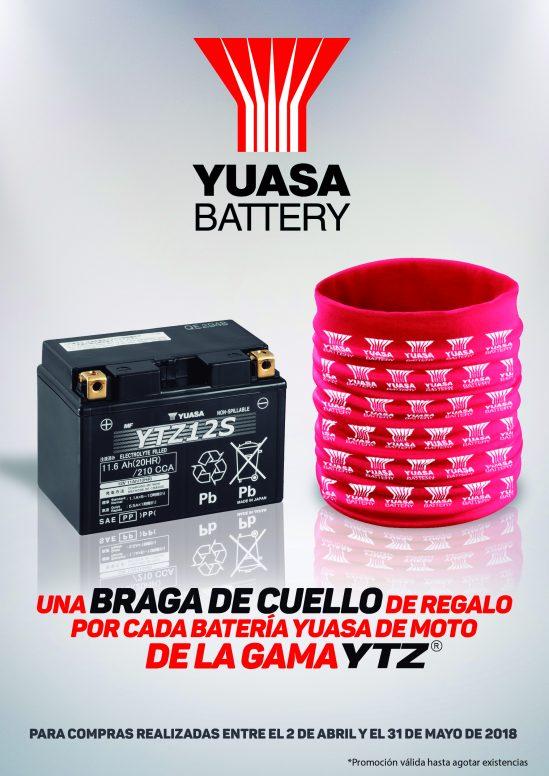 YUASA regala una braga de cuello por cada compra de una batería de moto YTZ